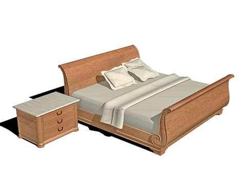 bett 3d wood sleigh bed 3d model 3ds max autocad files free
