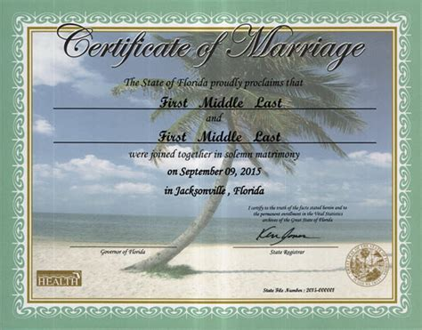 Palm Marriage Records Commemorative Marriage Certificates Florida Department Of Health