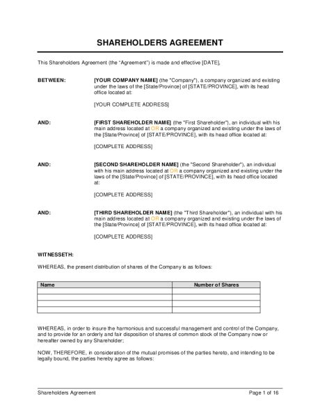 Shareholders Agreement Template Shareholders Agreement Template Sle Form Biztree Com
