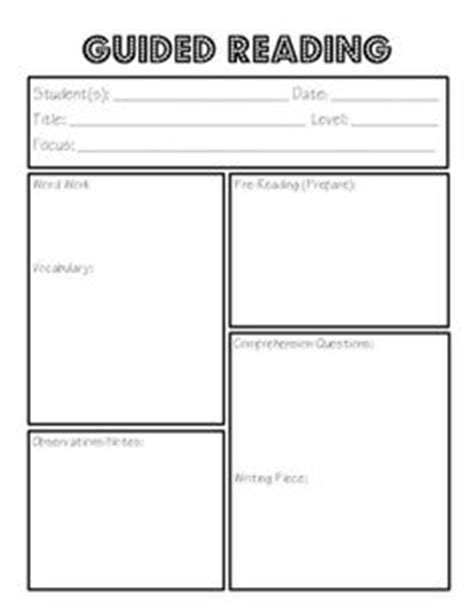 guided reading lesson plan template kindergarten guided reading lesson plan template levels a n lesson