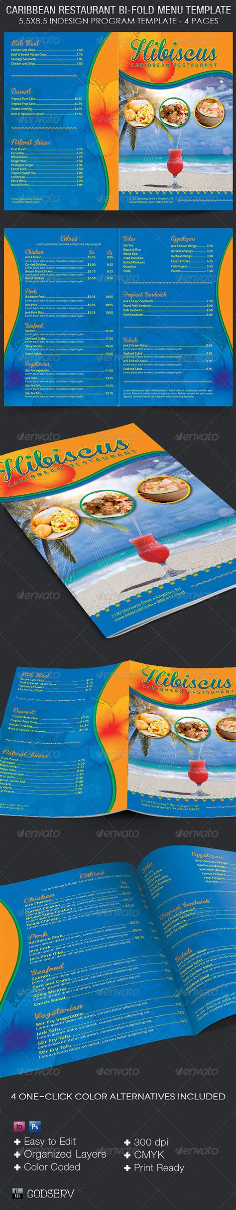 Caribbean Restaurant Bi Fold Menu Template On Behance Free Caribbean Menu Template