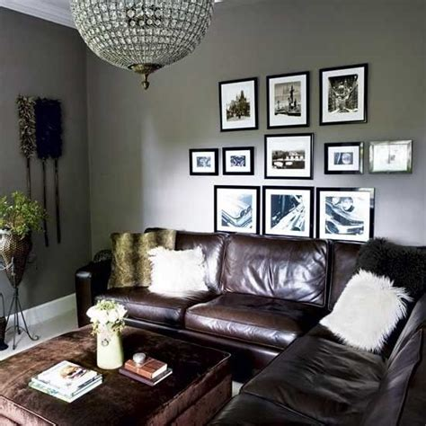 grey and brown living room grey walls brown leather couch living room look