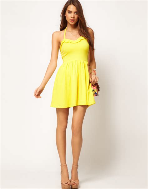 02 Dress Tali Ribbon Yelow asos summer dress with frill sweetheart neck in yellow lyst
