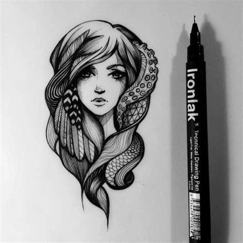 draw tattoo with pen drawing girl black and white beautiful face design tattoo