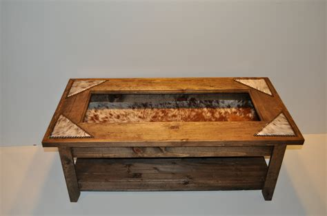 display coffee table with cowhide nailheads made to order