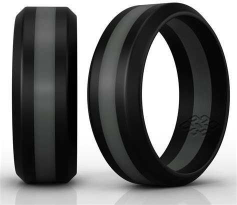 silicone wedding ring band by knot theory black with dark