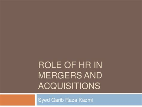 Mergers And Acquisitions Mba by Of Hr In Mergers And Acquisitions