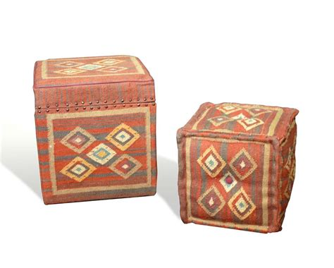 red cube ottoman patiki southwestern rustic red cube kilim stool ottomans