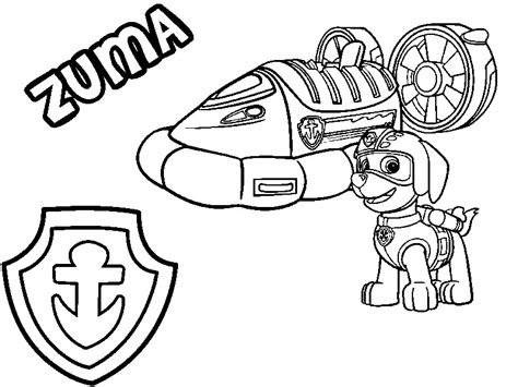 zuma coloring page paw patrol coloring page paw patrol zuma his hovercraft and badge 8