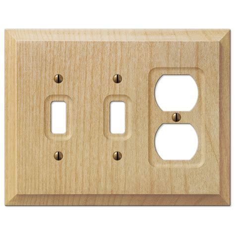 amerelle 180ttd baker unfinished alder wood 2 toggle 1 duplex wall plate baker unfinished alder wood 2 toggle 1 duplex outlet