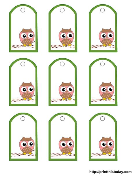 printable owl labels free printable owl gift tags templates in pink or blue or