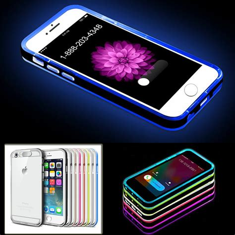led flash light up remind incoming call cover skin for iphone 5 5s 6 6s ebay
