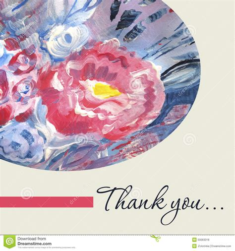 watercolor thank you card template watercolor vector thank you card template stock vector
