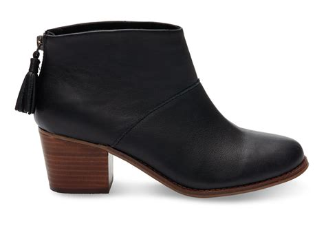 toms black black grain leather s leila bootie