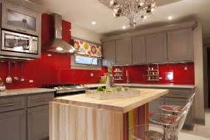 Amazing Red Glass Tile Kitchen Backsplash #5: Kitchen-designer-meg-caswell-painted-the-walls-red-then-added-a-clear-glass-cover-to-create-a-chic-vibrant-backsplash-between-grey-kitchen-cabinet-and-infront-foldable-wooden-island-ideas.jpg