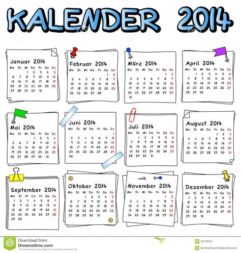 Calendario Aleman Calendario Alem 225 N 2014 Foto De Archivo Libre De Regal 237 As