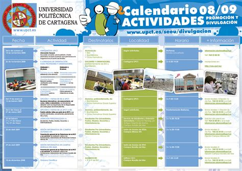 Calendario De Actividades Divulgaci 243 N Universidad Polit 233 Cnica De Cartagena