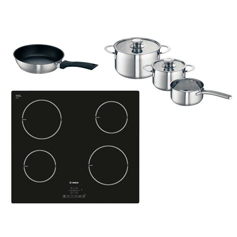 induction hob free pans bosch pia611b68b low consumption 13 60cm induction hob free pan set ebay