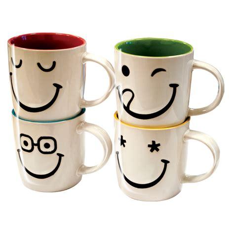 8 xFaces Smiley Ceramic Mug Set Cups Coffee Tea Stoneware 313ml 12oz Christmas