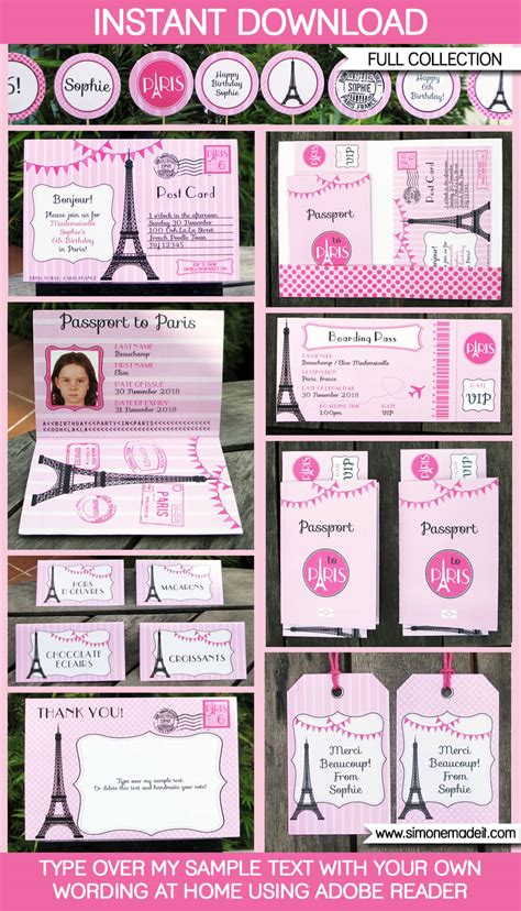 Full Home Decoration Games by Paris Party Printables Invitations Amp Decorations