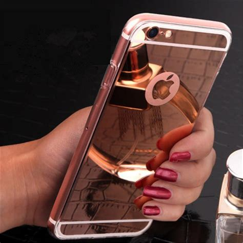 Casing Rosegold Rubber Mirror Iphone X iphone 6s luxury ultra thin mirror electroplate gold cases clear tpu bling view