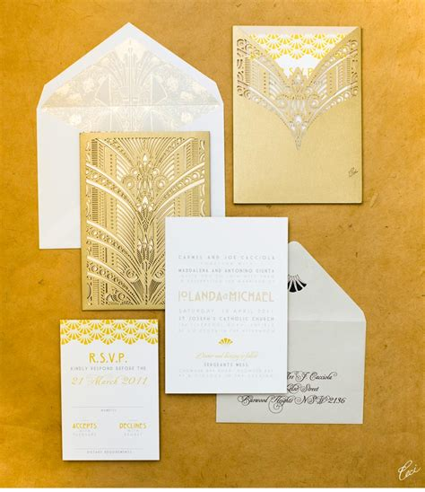 wedding invitations deco v83 our muse australian deco wedding iolanda