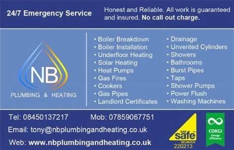 Plumbing And Heating Business Cards by Nb Plumbing And Heating Central Heating Repair Company
