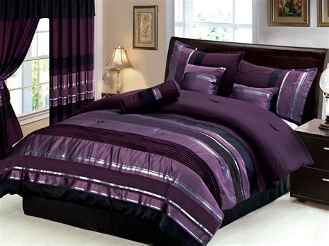 new 7 pc queen size royal purple black silver striped