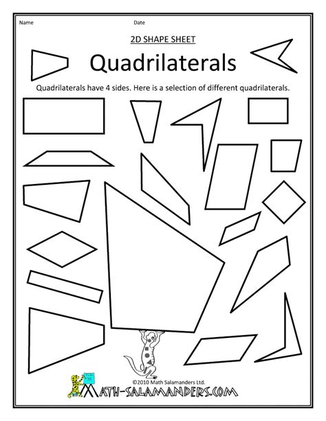 Quadrilaterals Worksheet by Best Photos Of Math Quadrilateral Shapes Quadrilateral