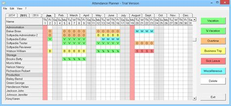 attendance management system template employee vacation tracking calendar template excel
