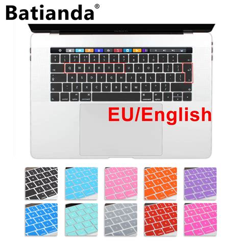 Silicone Keyboard Cover For Macbook Pro 2016 With Touch Limited silicone eu uk layout keyboard cover stickers protector for 2016 2017 new macbook pro