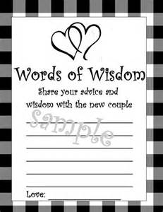 words of wisdom bridal shower wedding shower words of wisdom diy printable by ncprintables
