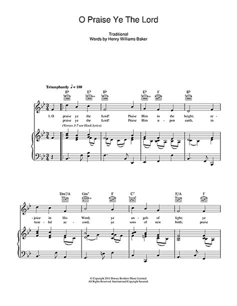 O Praise Ye The Lord sheet music by Traditional (Piano