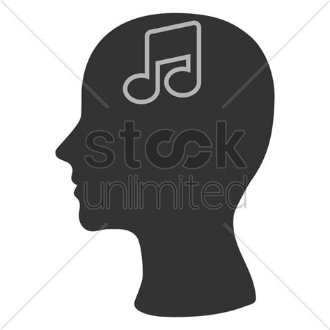 music note head silhouette human head silhouette with a musical note vector image