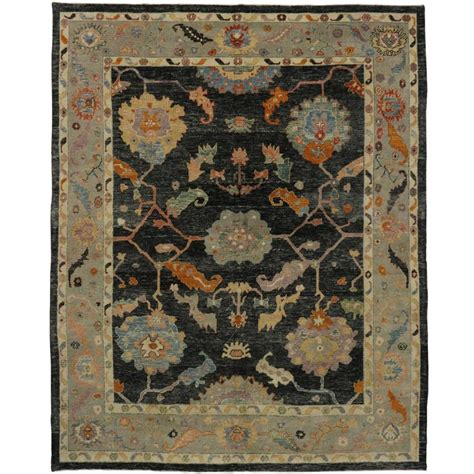 modern turkish rugs turkish oushak rug with black field and modern style for sale at 1stdibs