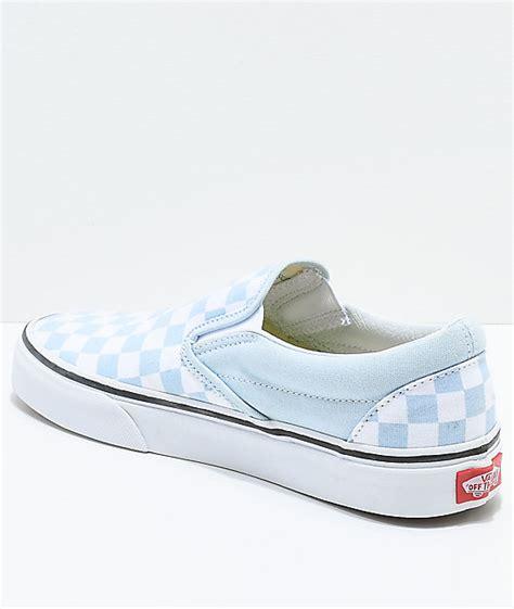 light blue slip on vans vans slip on baby blue white checkered skate shoes zumiez