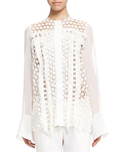 fringe blouse chlo 233 fringe trim lace blouse in white lyst