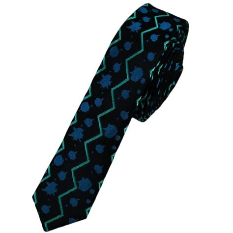 Limited Editions 7753 Silk Zigzag midnight blue patterned ultra silk tie limited