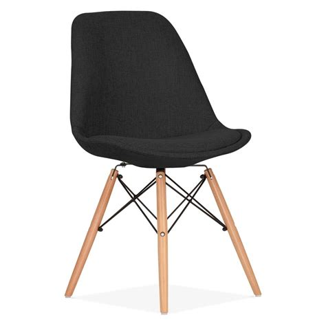 eames inspired black upholstered dining chair with dsw