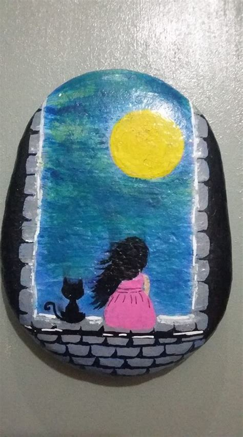 cutest painted rock   girl sitting   castle