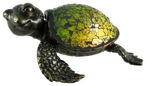 mosaic green glass sea turtle accent l crush