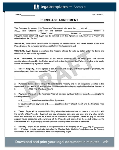 Purchase Agreement Template Create A Free Purchase Agreement Home Buyout Agreement Template