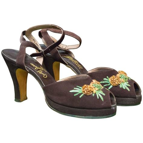 pineapple shoes 1940s brown suede platform pineapple shoes for sale at 1stdibs