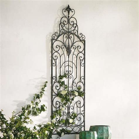 48 Quot Outdoor Wrought Iron French Shutter Garden Gate Wall Wrought Iron Garden Wall
