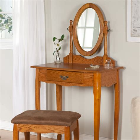 Oak Makeup Vanity Table Contemporary Unfinished Oak Wood Floating Dressing Table With Single Drawer And Folding Leg