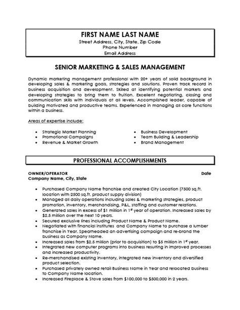 senior marketing and sales manager resume template premium resume sles exle