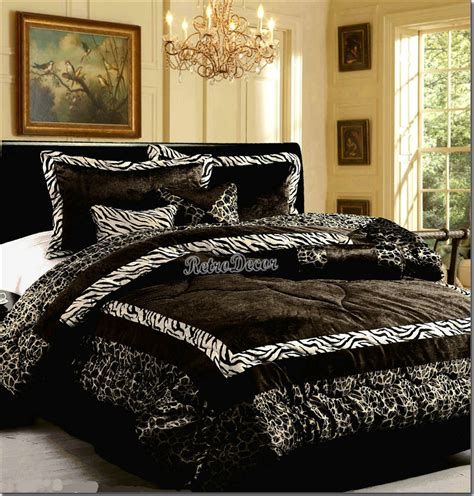 7 pieces safari black white zebra animal print comforter