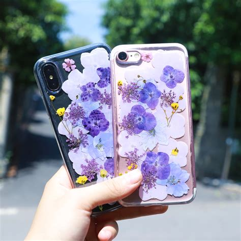 birthday gift  girls real flower iphone xs max xr   case crystal clear case  iphone