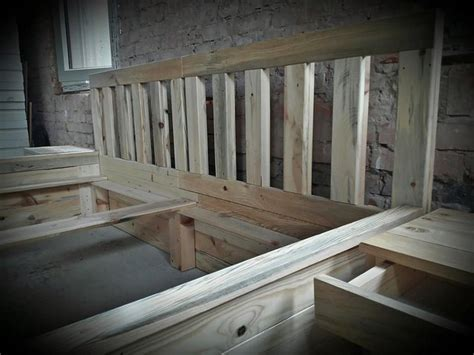 Wooden Pallets Bed Frame Recycled Wood Pallet Bed Frame With Side Tables Pallet Wood Projects