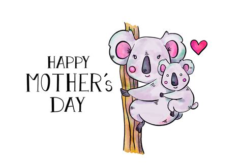 cute koala mom  son  tree  lettering  mothers